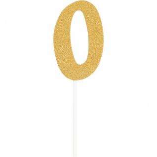 Glitzer Kuchen oder Deko Stecker Zahl 0 Gold