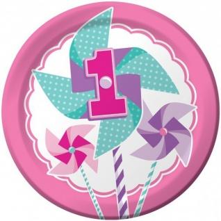 48 Teile Erster Geburtstag Windrad Pink Party Deko Set 16 Personen - Vorschau 2