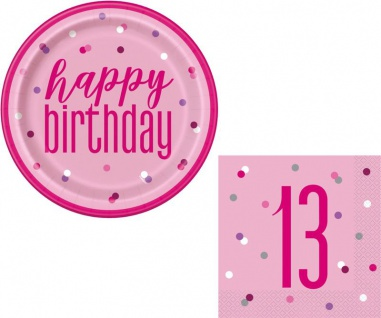 XL 36 Teile 13. Geburtstag Pink Dots Party Deko Set 8 Personen - Vorschau 2