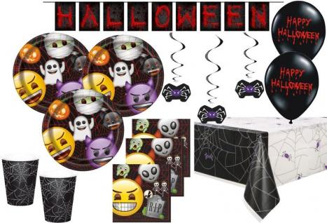 XXL Emoji Halloween Spinnen Netz Party Deko Set 16 Personen
