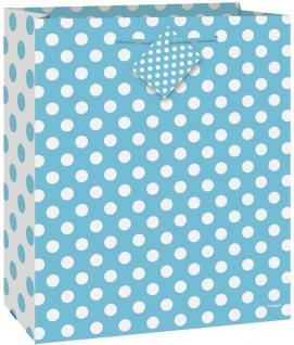 Geschenk Tasche Hellblau mit Punkten