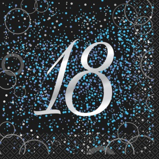 18. Geburtstag 16 Servietten in Schwarz Blau foliert