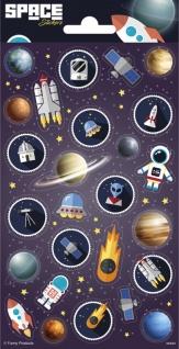 1 Bogen Weltraum Raketen und Planeten Papier Sticker