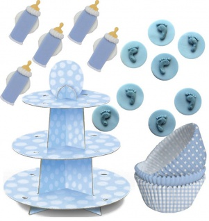 89 Teile Baby Shower Muffin Dekorations Backset Blau für bis zu 75 Cupcakes