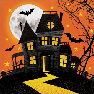 16 Halloween Servietten Spukschloß