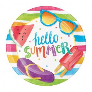 8 kleine Teller Eis Party Hallo Sommer