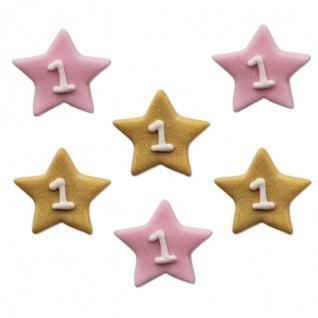 6 Zuckerfiguren blinke kleiner Stern in rosa und gold