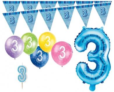 3. Geburtstag Blau Folienballon + Girlande + Luftballons + Kerze Deko Set - Drei