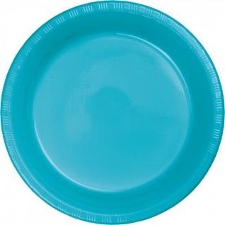 20 große Plastik Teller Bermuda Blau