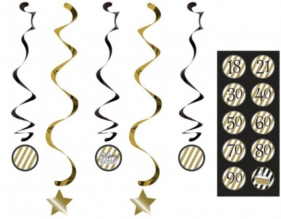 34 Teile Dekorations Set zum 70. Geburtstag oder Jubiläum - Party Deko in Schwarz & Gold - Vorschau 5