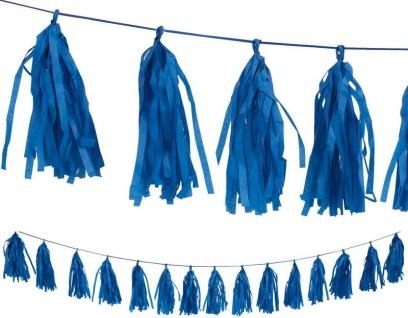 Quasten Girlande aus Seidenpapier in Königs Blau