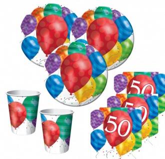 48 Teile zum 50. Geburtstag bunte Ballons Set für 16 Personen