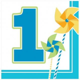 16 Servietten 1. Geburtstag Windrad Blau
