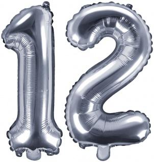 Folienballons Zahl 12 Silber Metallic 35 cm