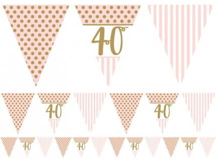 40. Geburtstag Pink Chic Wimpel Girlande 3, 7m