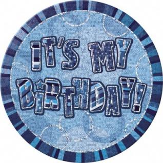 XXL Geburtstag Glitzer Button Blau