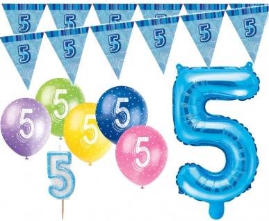 5. Geburtstag Blau Folienballon + Girlande + Luftballons + Kerze Deko Set - Fünf
