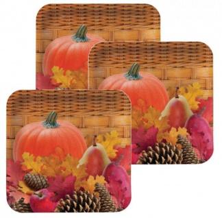 8 große Papp Teller Herbst gefüllter Weidenkorb