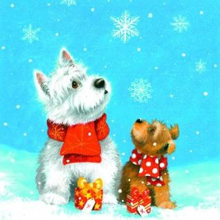 20 Servietten Hunde im Schnee