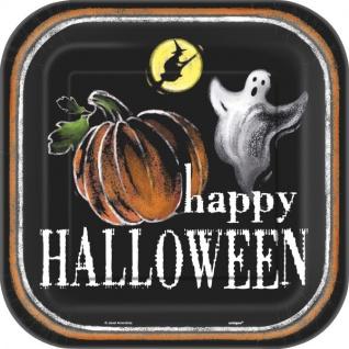 8 Halloween Papp Teller Kürbis Geister