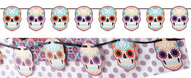 Day of the Dead Girlande am Satinband