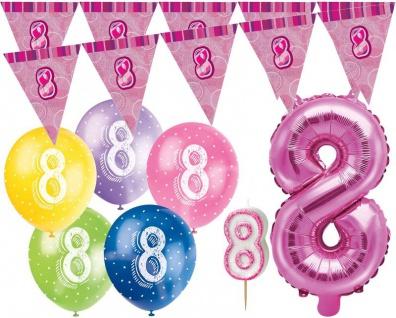 8. Geburtstag Pink Folienballon + Girlande + Luftballons + Kerze Deko Set - Acht