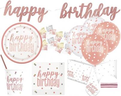 XL 52 Teile Rosegold Glitzer Geburtstags Party Set für 8 Personen