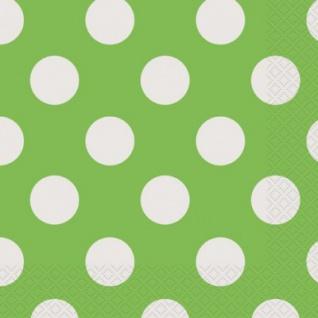 16 kleine Servietten hellgrüne Punkte