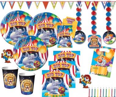 XXL 70 Teile Geburtstag Zirkus Party Set für 8 Personen - Kindergeburtstag
