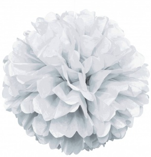 1 großer Papier Dekoball 40 cm in Weiß