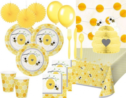 XXL 72 Teile Baby Bienchen Sommer Garten Party Deko Set für 8 Personen