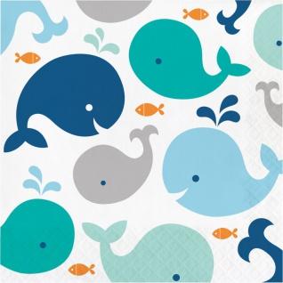 16 Servietten Happy Baby Wal Party Blau