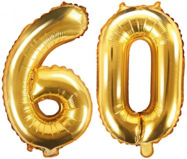 Folienballons Zahl 60 Gold Metallic 35 cm