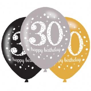 6 Luftballons Gold und Silber 30. Geburtstag