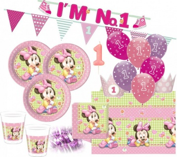 67 Teile Disney Baby Minnie zum Ersten Geburtstag Party Deko Set 16 Personen 1. Geburtstag
