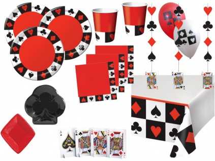 XXL 61 Teile Poker, Casino Motto Party Deko Set 8 Personen
