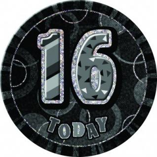 XXL Glitzer Button 16. Geburtstag Schwarz