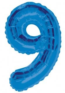 XXL Folien Ballon in Form der Zahl 9 Blau 86 cm