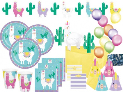 XXL 68 Teile bunte Lama Party Deko Basis Set für 8 Personen