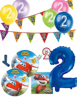 57 Teile 2. Geburtstag Super Wings Party Deko Set für 8 Kinder