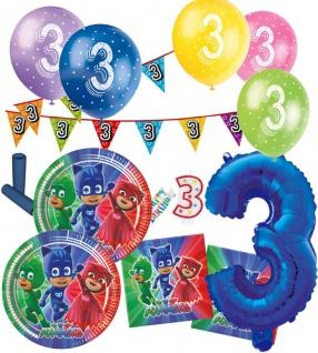 57 Teile 3. Geburtstag PJ Masks Pyjamahelden Party Deko Set für 8 Kinder