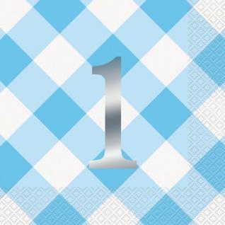 16 Servietten 1. Geburtstag Vichy Karo in Blau
