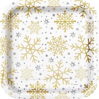 8 glänzende Papp Teller Schneeflocken in Silber und Gold
