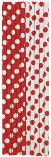 10 Papier Trinkhalme rote Punkte