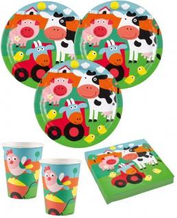 52 Teile lustige Bauernhof Tiere Party Deko Set für 16 Kinder