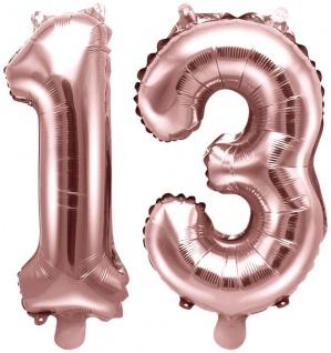 Folienballons Zahl 13 Rosegold Metallic 35 cm