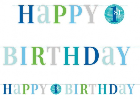 Geburtstags Girlande 1. Geburtstag Blaue Punkte
