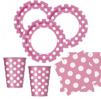 50 Teile Party Set helles Pink mit weißen Punkten für 16 Personen