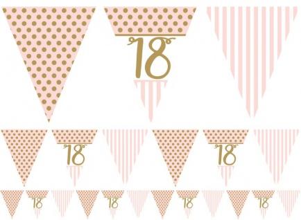 18. Geburtstag Pink Chic Wimpel Girlande 3, 7m