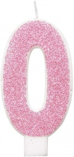 Glitzer Zahlenkerze 0 in Rosa